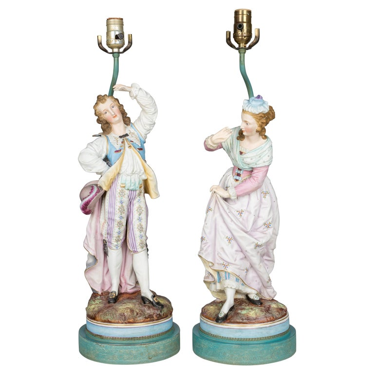 Pair of French Sèvres Bisque Porcelain Lamps For Sale