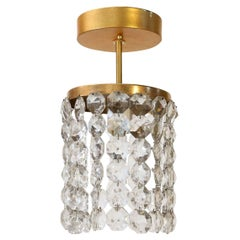 Austrian Single  Flush Mount Pendant With Crystal Ropes