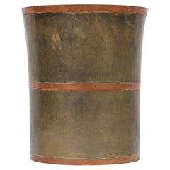 Modernist Brass and Copper Wastebasket