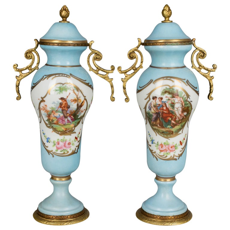Pair of French Sèvres Porcelain Urns For Sale