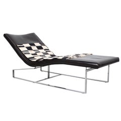Enrico Pellizzoni Leather and Steel Chaise Lounge