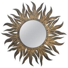 Vintage Metal Italian Gilded Sun Mirror