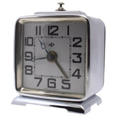 Art Deco French Miniature Alarm Clock by Dep, circa 1930