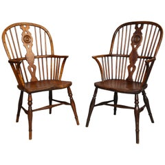 Near Pair of English Hoop Back Windsor Armchairs