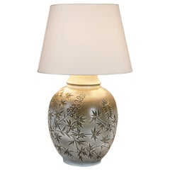 Huguette Bessone Handmade White and Grey Ceramic Table Lamp Decoration