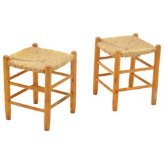 Pair of Wood and Staw Stools by Charlotte Perriand for L'équipement de la Maison