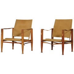 Two Kaare Klint Safari Chairs in Canvas, Made by Rud Rasmussen, Denmark, 1960s