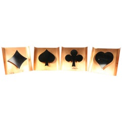 Wall Lamp Set of 4 Poker Card Symbols Copper Vintage 1960s Playing Cards
