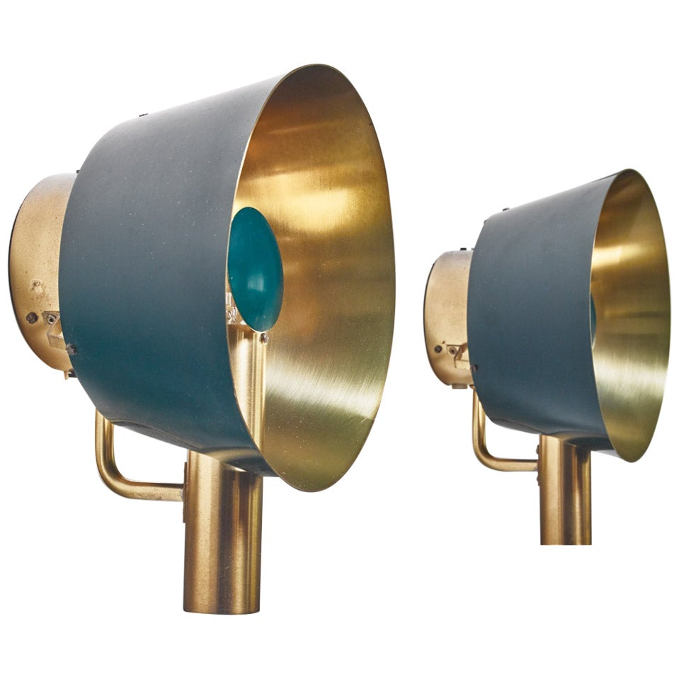 Pair of Brass Lyfa Wall Lamps, Denmark, 1960s