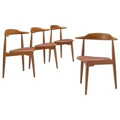 Hans J. Wegner Set of Four Heart Chairs in Oak and Cognac Leather