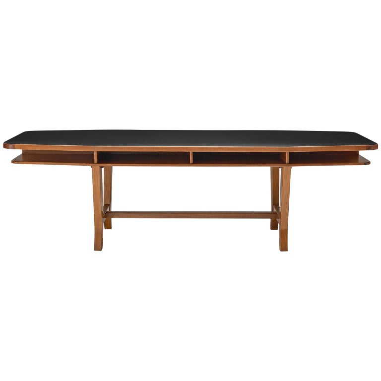 Conference Table with Black Top and Solid Walnut Frame For Sale