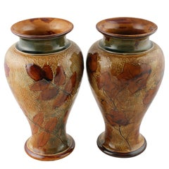 Pair of 19th Century Victorian Royal Doulton  Pottery Vases