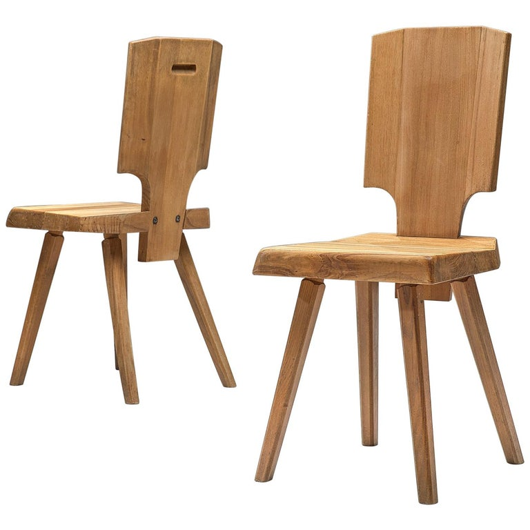 Pierre Chapo Pair of S28 Dining Chairs in Solid Elm For Sale