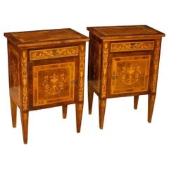 20th Century Inlaid Wood Pair of Italian Louis XVI Style Bedside Tables, 1960