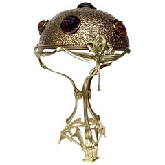 Viennese Art Nouveau Brass and Multicolored Glass Jewel Table Lamp, Austria 1900