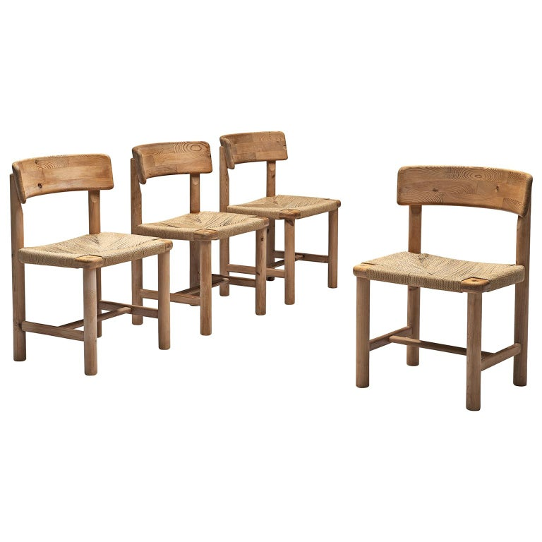 Rainer Daumiller Set of Four Dining Chairs in Solid Pine and Cane For Sale