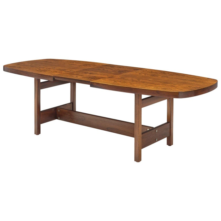 Sergio Rodrigues Extendable Rosewood Dining Table For Sale