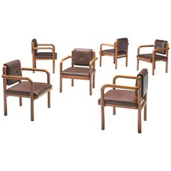Ton Set of Six Armchairs in Dark Cognac Upholstery