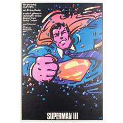 Superman 3 Original Polish Film Movie Poster, 1985, Waldemar Swierzy