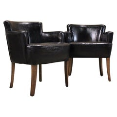 Pair of 1930s-1940s English Leather Armchairs