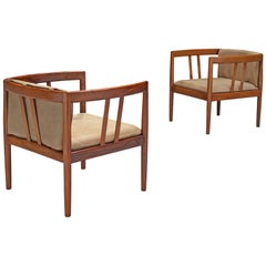 Illum Wikkelsø Pair of Rosewood Easy Chairs in Original Buffalo Leather