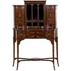 Bonheur du Jour Painted Antique Cabinet Console by Edwards & Roberts Edwardian