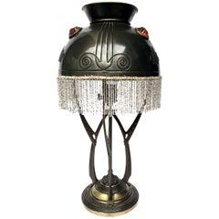 Viennese Art Nouveau Glass Jewel Brass Table Lamp, Austria, 1900s