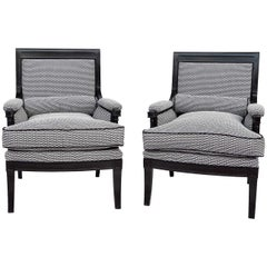 Pair of Black Lacquered Directoire Style Bergeres, 1950s