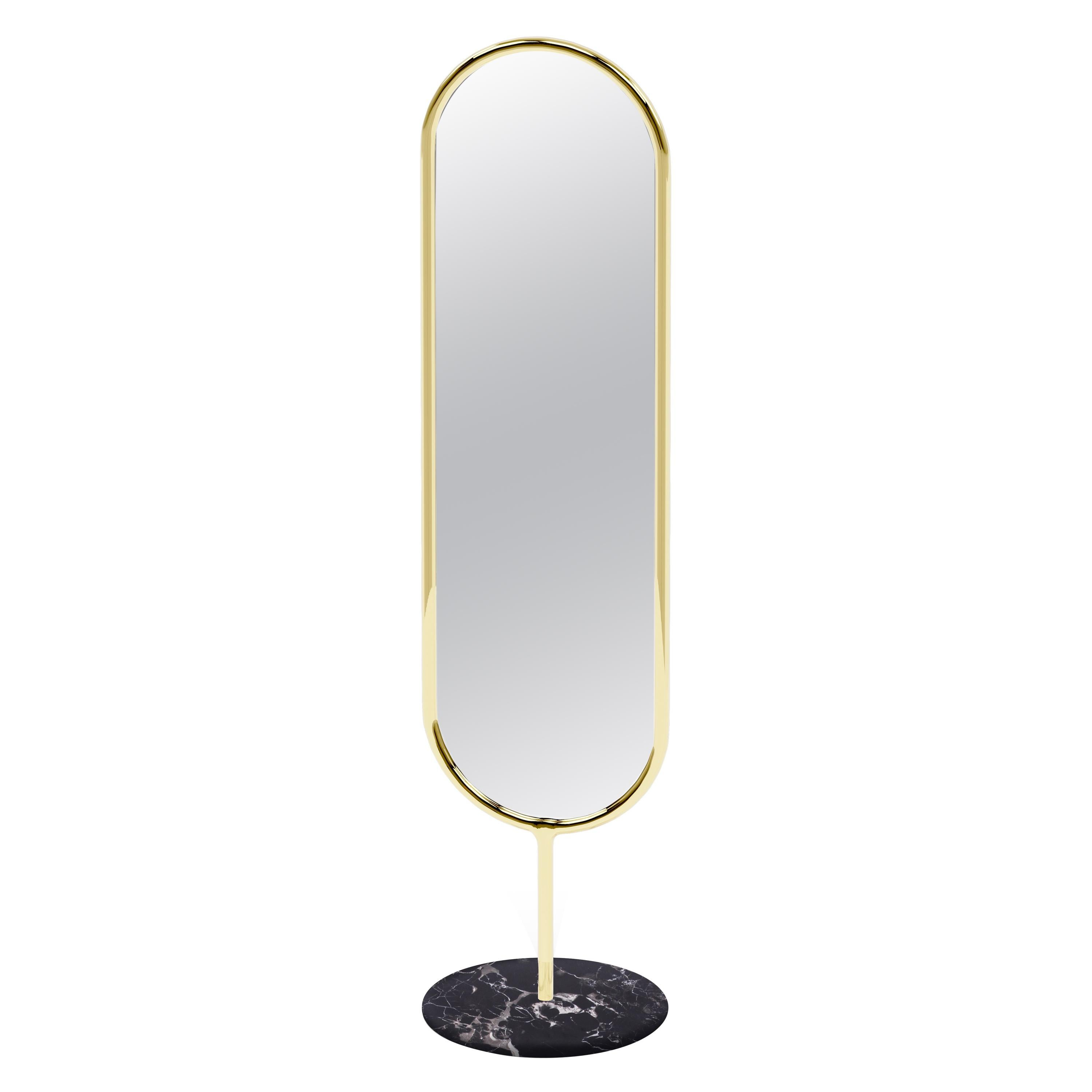 Polished Brass and Nero Marquina Marble Floor Mirror, Royal Stranger