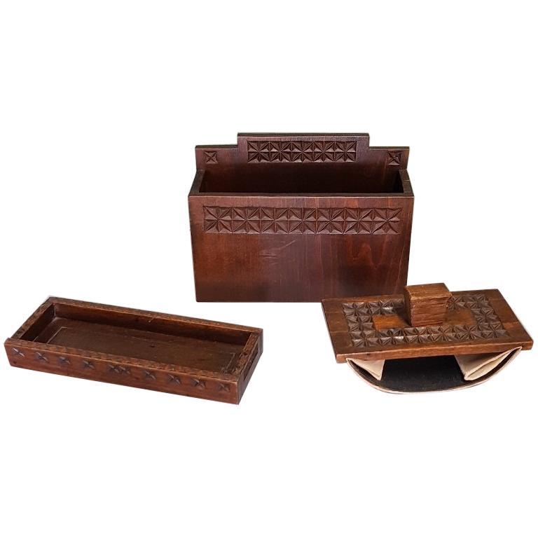 Mid-20th Century Dutch Wooden Desk Set For Sale