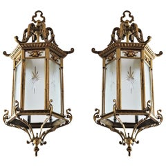 Pair of Large 19th Century Regency Style Bronze Cut-Glass Three-Light Lanterns
