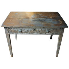 French Painted Pine Side Table, circa 1890