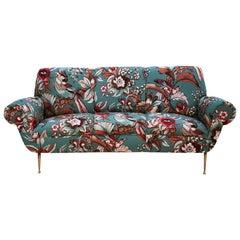 Gigi Radice Mid-Century Modern Upholstered in Pattern Fabric Italian Sofa
