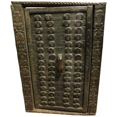 Antique Door Dark Wood Brown African of the Dagon, with Frame Carved
