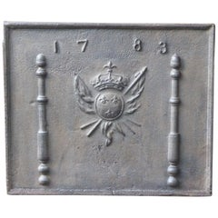 French Fireback with Coat of Arms of France, Dates 1783