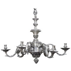 French 19th Century Silvered Bronze Régence Style Chandelier
