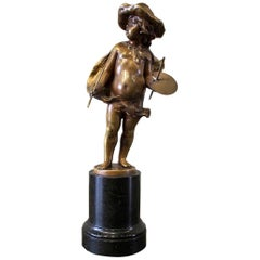"""Bronze Figure a Boy by Franz Iffland """"Personification of Art"""""""