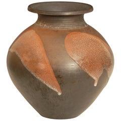 Large Burnished Raku Pot or Vase with Crackle Glaze by Tim Andrews UK