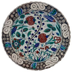 Large 19th Century Italian Iznik Style Faience Charger, Cantagalli, Florence