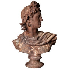 Grand Scale Cast Iron Bust of Apollo Belvedere, Italy, circa 1800