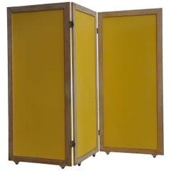 Yellow Mid Century Modern Paravent / Folding Screen of Teak / Brass / Pavatex