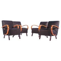 Czech Interwar Avantgard Design Black Armchairs by Jindrich Halabala 'Up Zavody'