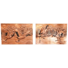 Pair of 3d Copper Art Waterbird Works by Outsider Australian Artist J.H. Stokes