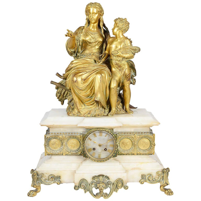 Classical French Louis XVI Style Mantel Clock, 19th Century For Sale
