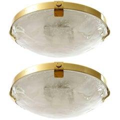 Pair of Kalmar Flush Mount Lights, Brass Murano Glass, 1970s