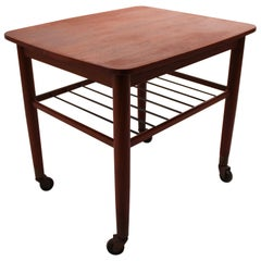 Side Table on Wheels with Shelf of Teak and of Danish Design from the 1960s