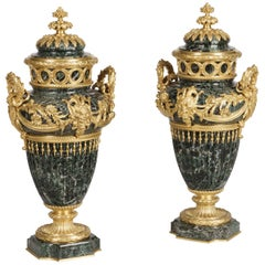 Pair of Green Marble and Ormolu Decorative Vases by F. Barbedienne