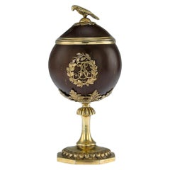 Antique Russian Silver-Gilt Mounted Coconut Lidded Cup, Tula, circa 1825