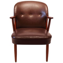 Easy Chair of Dark Brown Patinated Leather and Teak, Danish Design, 1940s