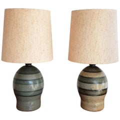 Pair of Mid-20th Century Bendigo Pottery Table Lamps with Period Textured Shades